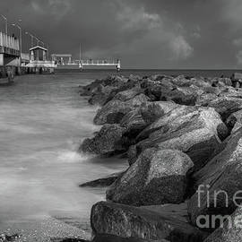 Liesl Walsh - Rocks and Pier at Fort Desoto Park, Florida Blk Wht