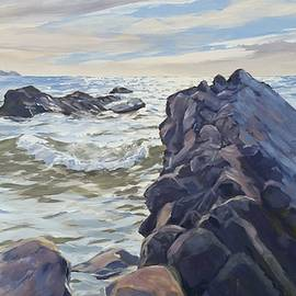 Rocks At Widemouth Bay, Cornwall by Lawrence Dyer