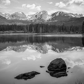 Gregory Ballos - Rocky Mountain Reflections in Black and White - Estes Park Colorado Art