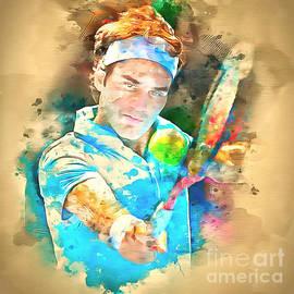 Roger Federer Watercolor I by Jack Torcello