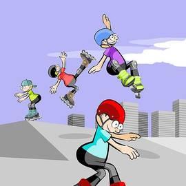 Daniel Ghioldi - Rollerbladers kids jumping in the skate park