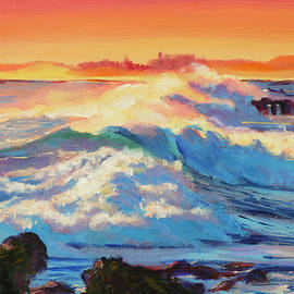 David Lloyd Glover - Rolling Ocean Surf - Plein Air