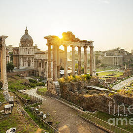 Roman Forum at sunrise, Rome, Italy by Justin Foulkes