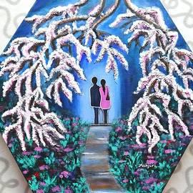 Manjiri Kanvinde - Romance under Cherry Blossom textured hexagonal painting