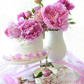 Romantic Pink Peonies Peony Cake Decor - Shabby Chic Cottage Peony Wall Decor  by Kathy Fornal