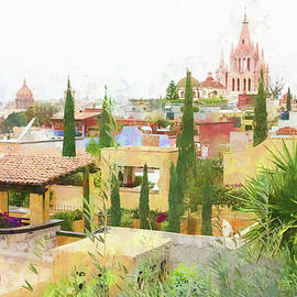 Rooftops And The Parroquia De San Miguel Arcangel, Mexico. by Rob Huntley