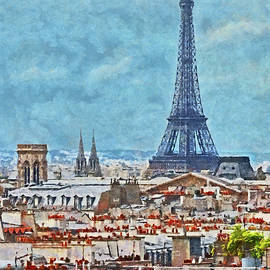 Rooftops in Paris and the Eiffel Tower by Digital Photographic Arts