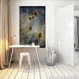 Room Mock Up with Teasels from Crail by Liz Alderdice