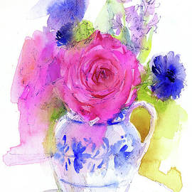 John Keeling - Rose and Cornflowers in Pitcher