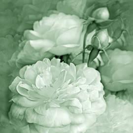 Rose Bouquet Flowers Mint Green by Jennie Marie Schell