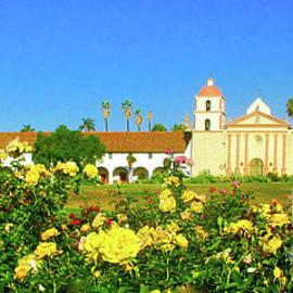 Rose Garden Santa Barbara Mission by Jerome Stumphauzer