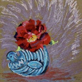 Rose in McCoy Chicken Vase by Bonnie See
