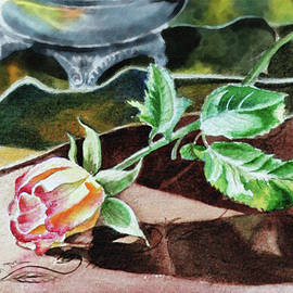 Rose Still Life Watercolor Realism  by Irina Sztukowski