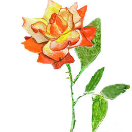 Irina Afonskaya - Rose, watercolor painting