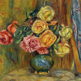 Roses in front of a Blue Curtain - Pierre-Auguste Renoir
