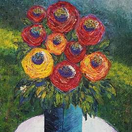 Jean L Fassina - Roses In The Blue Squared Vase Outdoors
