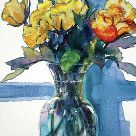 Roses in Vase Still Life I by Kathy Braud
