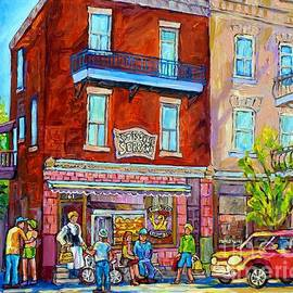 Rotisserie Serrano Bbq Colorful Canadian Streetscene Painting Montreal 375 Original Art  by Carole Spandau