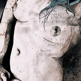 Marco Paludet - Rotten Apple - Turquoise - nude topless girl, erotic graffiti portrait