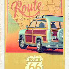 Route 66 Vintage Postcard - Edward Fielding