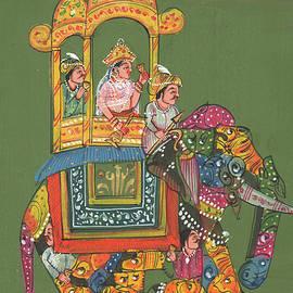 Rajkumar Sharma - Royal Indian Maharani Queen Savari On Artistic Elephant Indian  Miniature Watercolor Artwork Pintura