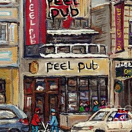 Rue Peel Montreal Winter Street Scene Paintings Peel Pub Cafe Republique Hockey Scenes Canadian Art by Carole Spandau