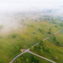 Matthias Hauser - Rural Landscape with morning fog aerial view