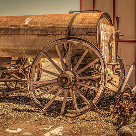 Rustic Water Wagon And Plow by Gene Parks