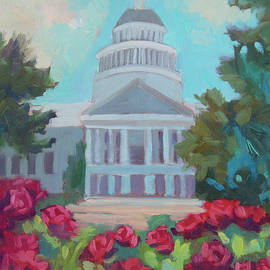 Sacramento Capitol And Roses by Diane McClary