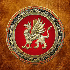 Sacred Golden Griffin On Brown Leather