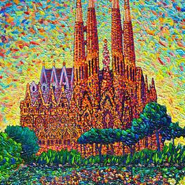 Sagrada Familia Barcelona Modern Impressionist Palette Knife Oil Painting By Ana Maria Edulescu by Ana Maria Edulescu
