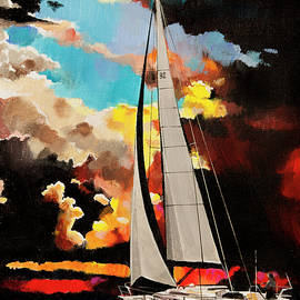 Bill Dunkley - Sailboat in evening color