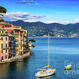 Sailboat In Portofino, Italy by Global Light Photography - Nicole Leffer