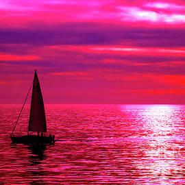 Sailboats At Sunset by Toula Mavridou-Messer