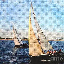 Diann Fisher - Sailboats Digital Oil Painting