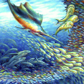 Sailfish Plunders Baitball II - Sharks and Dolphin Fish by Nancy Tilles