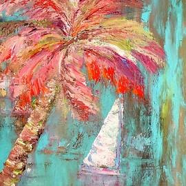 Dora Kali - Sailing boat and a Colorful Palm tree, Pastel colors