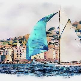 Jean Francois Gil - Sailing boats at sea, Saint-Tropez