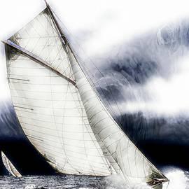 Jean Francois Gil - Sailing boats at sea, Van gogh brush style