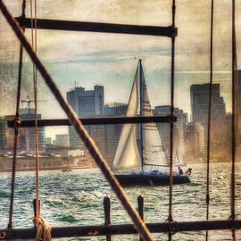 Sailing on Boston Harbor - Vintage by Joann Vitali