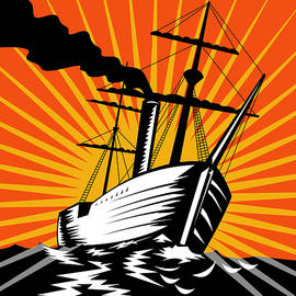 Aloysius Patrimonio - Sailing Ship Retro Woodcut