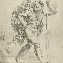Saint Christopher walking with the infant Christ on his right shoulder - Guido Reni