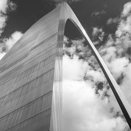 Gregory Ballos - Saint Louis Arch and Clouds Black and White Square Art