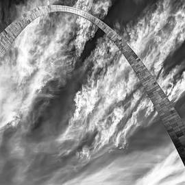 Gregory Ballos - Saint Louis Arch and Clouds Right Black and White 1x1