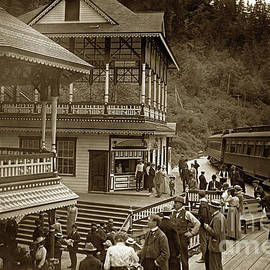 Sampling Shasta Water with Some Passengers that disembark the train
