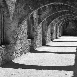 San Antonio Mission San Jose - Black And White by Gregory Ballos