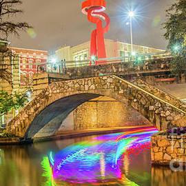 San Antonio River Walk With La Antorcha De La Amistad  by Michael Tidwell