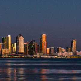 San Diego Skyline at Night with Midway Carrier by Patti Deters
