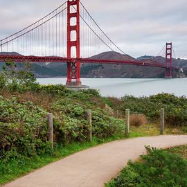 San Francisco Golden Gate Bridge - Square Art by Gregory Ballos
