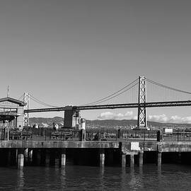 Matt Harang - San Francisco - Oakland Bay Bridge - Black and White Pier View